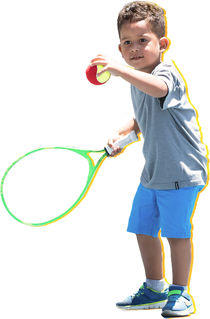 little boy hitting a forehand